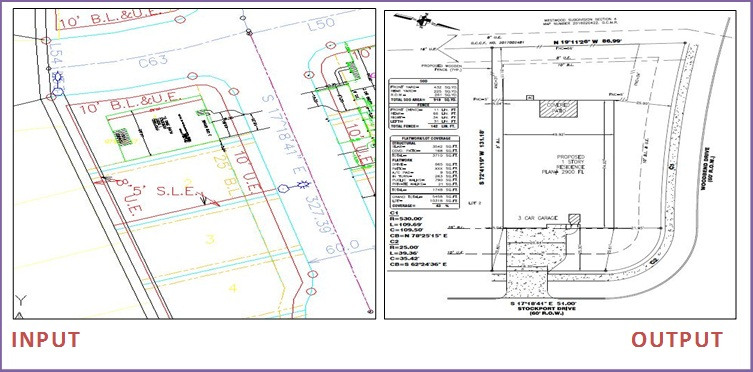 Plot plan survey drafting